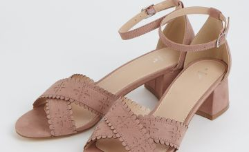 Blush Pink Scallop Edge Block Heel Sandals