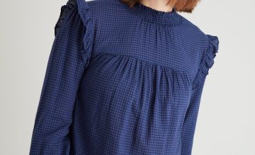 Navy Gingham High Neck Frill Blouse