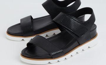 Black Snake Print Bubble Sole Sandals