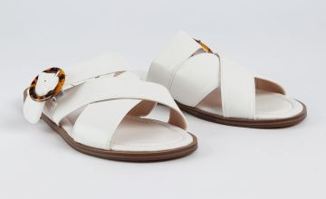 White Cross Strap Faux Leather Buckle Mules