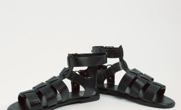 Black Faux Leather High Ankle Gladiator Sandals