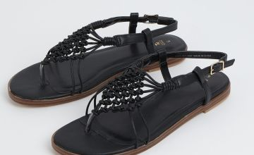Black Macrame Upper Toe Post Sandals