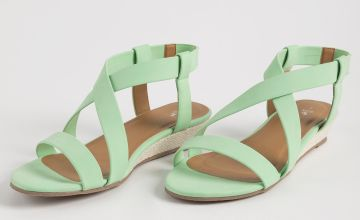 Green Matte Neon Wedge Sandals