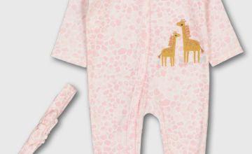 Pink Giraffe Print Sleepsuit & Headband
