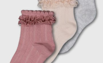 Peach, Grey & Rose Frilly Ankle Socks 3 Pack