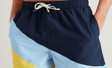 Diagonal Colour Block Recycled Shortie Swim Shorts