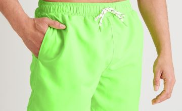 Neon Green Recycled Shortie Swim Shorts