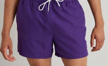 Purple Recycled Shortie Swim Shorts
