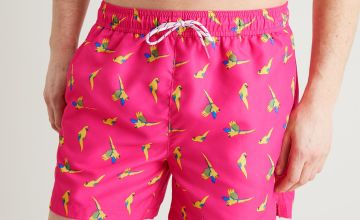 Pink Parrot Print Recycled Shortie Swim Shorts