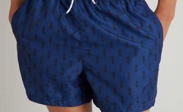 Navy Pineapple Print Recycled Shortie Swim Shorts