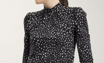 Black Floral Ditsy Print High Neck Blouse