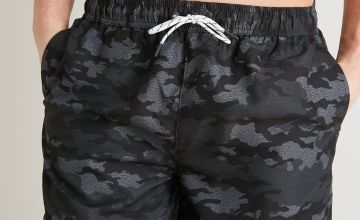 Charcoal Grey Camo Print Shortie Recycled Swim Shorts