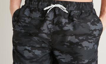 Charcoal Grey Camo Print Shortie Recycled Swim Shorts