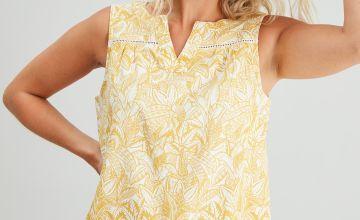Palm Print Linen-Rich Shell Top
