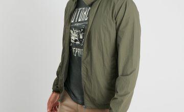 Khaki Shower Resistant Hooded Jacket