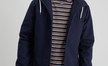 Navy Canvas Hooded Jacket
