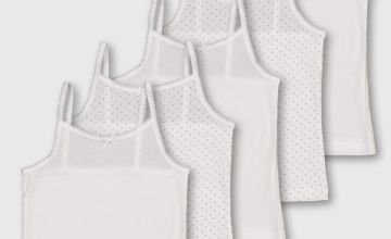 White & Dotted Cami Vest 5 Pack