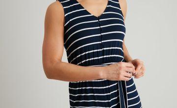 Navy & White Nautical Stripe Jersey Jumpsuit
