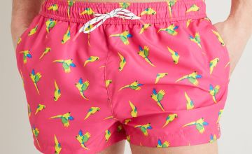 Pink Parrot Print Recycled Super Shortie Swim Shorts
