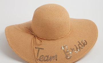 Natural Team Bride Floppy Straw Sun Hat - One Size