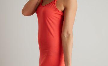 Coral Maxi Dress With Plait Detail