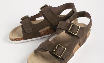 Khaki Faux Suede Buckle Strap Sandals