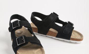 Black Faux Leather Buckle Strap Sandals
