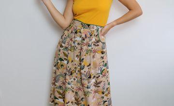 Kenya Print Button-Through Midi Skirt