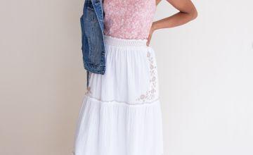 White Seersucker Maxi Skirt