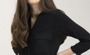 Black Jersey Collarless Button-Through Shirt