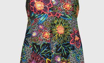 Bright Floral Print Swim Dress