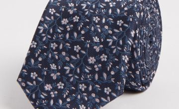 Navy & Pink Floral Print Tie - One Size