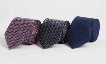 Navy, Grey & Pink Geo Print Tie 3 Pack - One Size