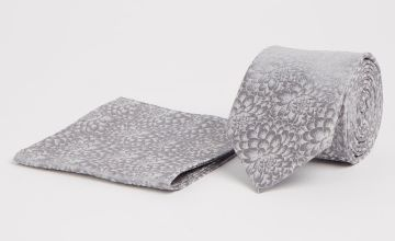 Mini Me Silver Floral Print Adult Tie & Pocket Square - One