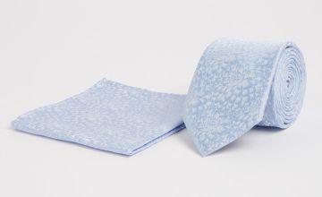 Mini Me Blue Floral Print Adult Tie & Pocket Square - One Si