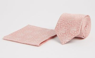 Mini Me Pink Floral Print Adult Tie & Pocket Square - One Si