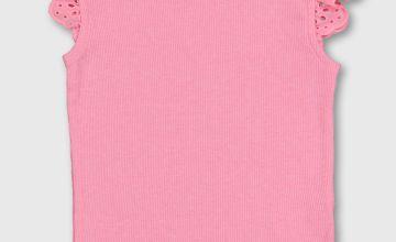 Neon Pink Rib Schiffli Lace Trim T-Shirt - 6-7 years