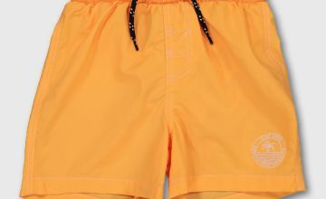 Orange Palm Tree Motif Swim Shorts