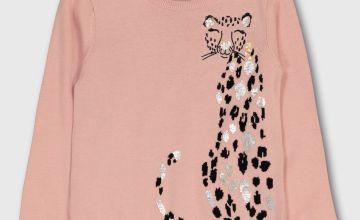 Pink Leopard Detail Jumper - 13 years