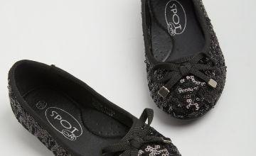 SPOT ON Black Sequin Ballerina Shoes