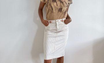 Stripe Pencil Skirt With Stretch