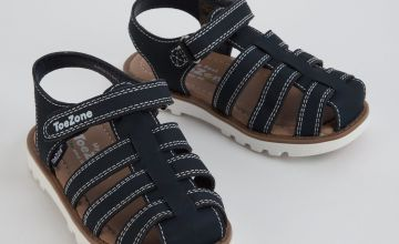 TOEZONE Navy First Walkers Fisherman Sandals