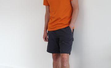 Charcoal Grey Poplin Cargo Shorts