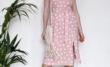 PETITE Pink Polka Dot Midi Dress