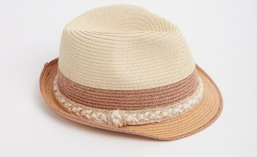 Straw Trilby With Rose Gold Trims
