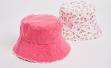 Neon Pink & Watermelon Bucket Hat 2 Pack