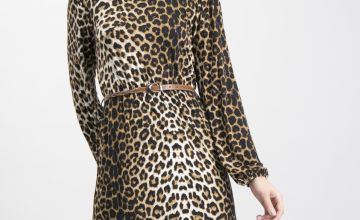 Leopard Print Belted Jersey Dress