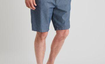 Ditsy Print Chambray Belted Chino Shorts