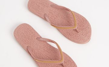 Pink Beaded Rope Effect Flip Flops