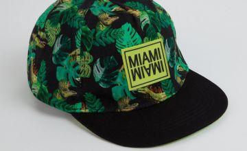 Green 'Miami' Jungle Print Fashion Cap